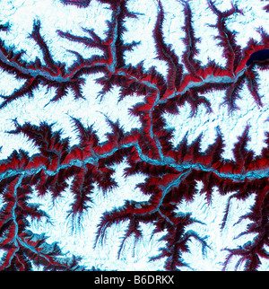 Eastern Himalayas, satellite image. North is at top. Snow is white, vegetation is red, barrenareas are light blue. - Stock Image