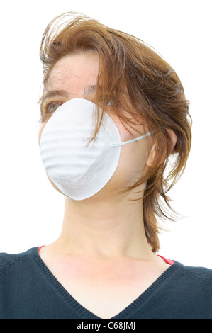 Femme porte un masque de protection contre la grippe ou la pollution de l'air - Image