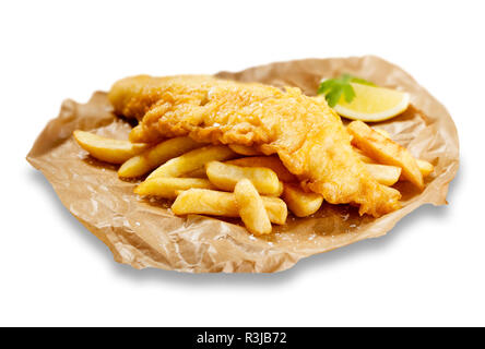 Images isolées de fish and chips, sur du papier brun, avec un morceau de citron. - Image de l'éditeur