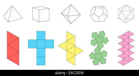 Cinq solides platoniques, figures tridimensionnelles et grilles associées. - image d'archive
