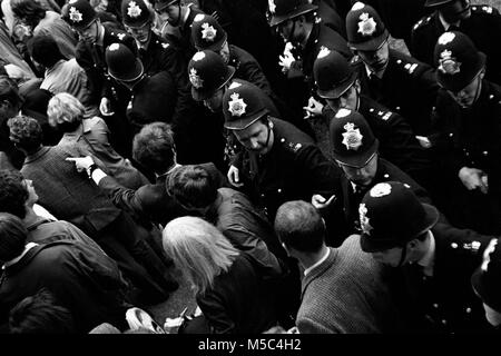 Anti-Vietnam war protest in London on 21 July 1968: Demonstrators confront police near the American Embassy in - Stock Image