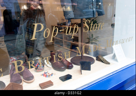 Pop-up store shop window, London, England, UK - Stock Image