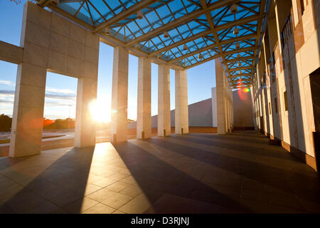 White marble facade of the Great Verandah at Parliament House. Canberra, Australian Capital Territory (ACT), Australia - Stock Image