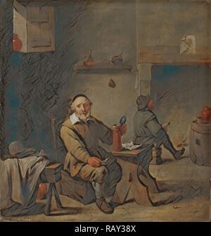 The Old Beer Drinker, copie d'après David Teniers (II), 1640 - 1660. Réimaginé par Gibon. Art classique avec un moderne réinventé - Image