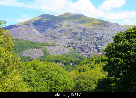 Slate quarries at Llanberis, Snowdonia, north Wales, UK view down to Llanberis - Stock Image