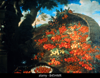 fine arts, Bimbi, Bartolomeo (1648 - 1730), 'Diverse varieta di ciliegie', , Artist's Copyright has - Stock Image