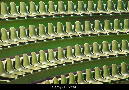 Mexico, Guerrero, Ixtapa, Rows of green seats - Stock Image