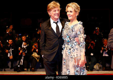 Robert Redford and Jane Fonda attending the 'Our Souls at Night' premiere at the 74th Venice International Film Festival at the Palazzo del Cinema on September 01, 2017  in Venice, Italy - Stock Image