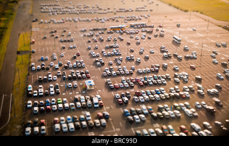 Aerial view of cars in parking lot, Sydney Airport, NSW, Australia - Stock Image