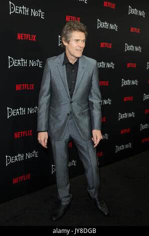 New York, United States. 17th Aug, 2017. Willem Dafoe attends Netflix premiere Death Note at AMC Loews Lincoln Square Credit: Lev Radin/Pacific Press/Alamy Live News - Stock Image
