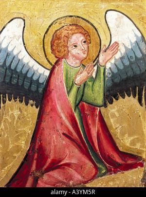 'fine arts, religious art, angels, 'praying angel', painting, Germany, circa 1330, oil on panel, Bavarian - Stock Image