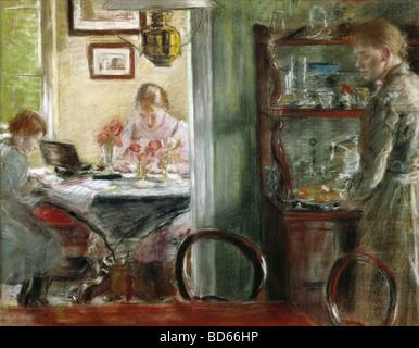 fine arts, Uhde, Fritz von (1848 - 1911), painting, 'The Daughters (Interior)', Museum Folkwang, Essen, - Stock Image