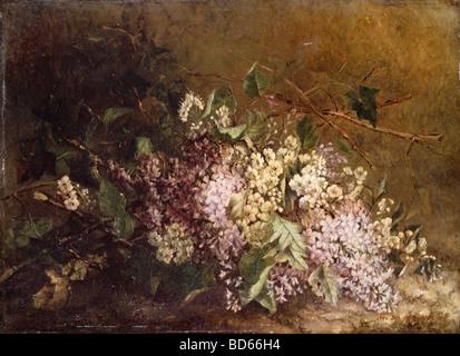 fine arts, Scholderer, Otto (1834 - 1902), painting, 'Stillife with Lilac' ('Fliederstilleben'), - Stock Image