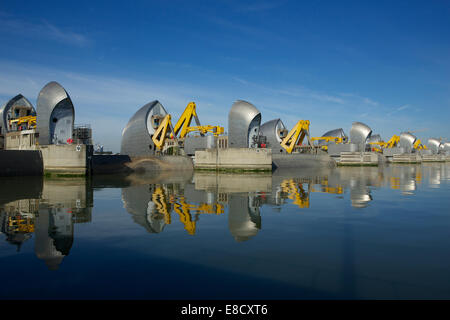 Woolwich, London, UK. 5th October, 2014. The Thames Barrier annual closure  and 30th anniversary since opening on - Stock Image
