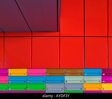Adelaide Wharf Key Worker Apartments, Shoreditch, London, multicoloured mailboxes - Stock Image