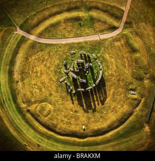 Aerial image of Stonehenge, prehistoric monument and stone circle, UNESCO, Salisbury Plain, Wiltshire, England, - Stock Image