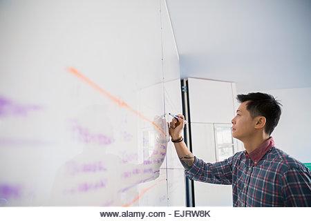 Businessman writing on whiteboard - Stock Image
