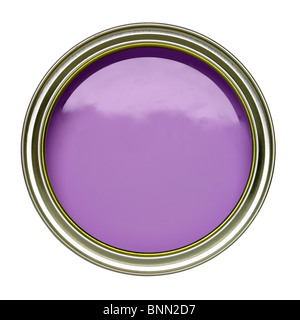PURPLE LILAC PAINT TIN CAN OPEN - Stock Image