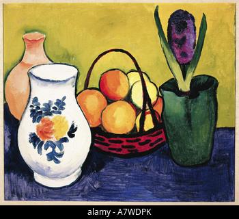 fine arts, Macke, August (1887 - 1914), 'Weisser Krug mit Blumen und Früchten', painting, Tegernsee, - Stock Image