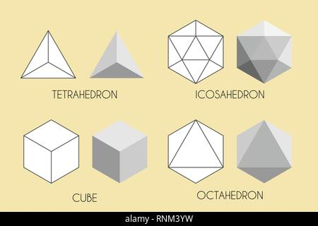 Quatre solides platoniques. Illustration vectorielle de géométrie sacrée. - image d'archive