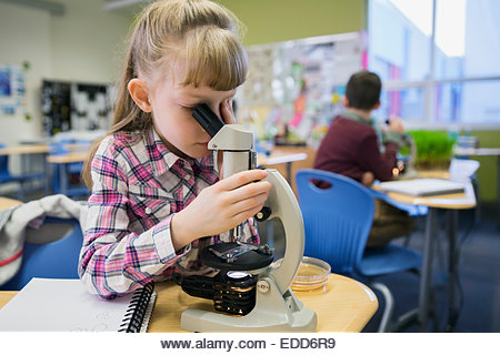Elementary student using microscope in laboratory - Stock Image