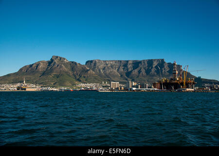 Table Mountain with Cape Town, Western Cape, South Africa - Stock Image