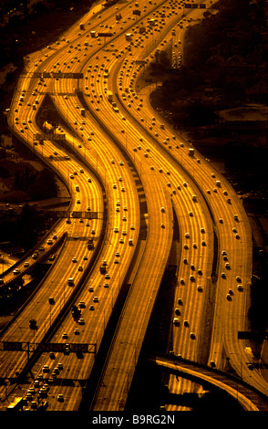 Aerial view of freeways, Los Angeles, California. - Stock Image