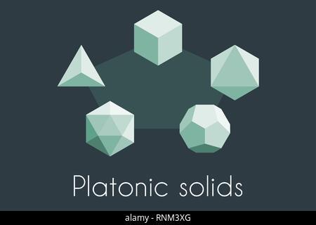 Cinq solides platoniques. Illustration vectorielle de géométrie sacrée. Tétraèdre, icosaèdre, octaèdre, dodécaèdre, cube - Image