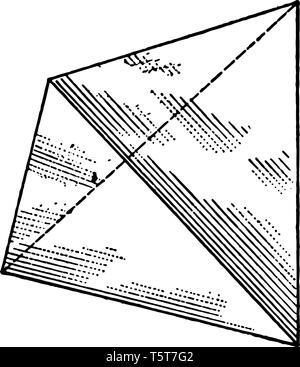 Il y a quatre faces avec des triangles équilatéraux. Il est également connu comme l'un des cinq solides platoniques communs, connu depuis l'Antiquité, ligne vintage - Image