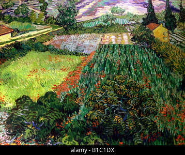 fine arts, Gogh, Vincent van, (1853 - 1890), painting, 'poppy field,', 1889 / 1890, oil on canvas, 71 cm - Stock Image