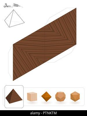 Solides platoniques. Modèle d'un tétraèdre à trois textures pour créer un modèle de papier 3d à partir du réseau de triangles. - image d'archive