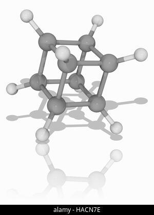 Kuban. Modèle moléculaire d'hydrocarbure synthétique cubain (C8.H8). C'est un prisme, un hydrocarbure qui se forme - Image