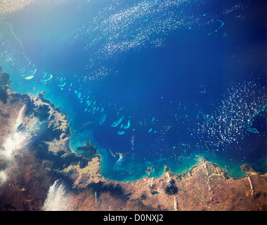 A View From Space of the Great Barrier Reef - Stock Image