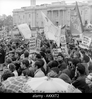 1968 Demonstration in Trafalgar Square, London protesting about Ian Smith's unilateral declaration of Independence - Stock Image