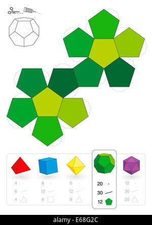 Maquette en papier d'un dodécaèdre, un des cinq solides platoniques, pour faire un travail tridimensionnel, sortez - Image
