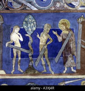fine arts, religious art, Adam and Eve, fall of men, painting, fresco, 13th century, church of Bjäresjö, - Stock Image