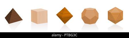 Solides platoniques. Trois parties d'arbres différents. Travail du bois géométrique sertie de différentes couleurs, glaçures, textures. - image d'archive
