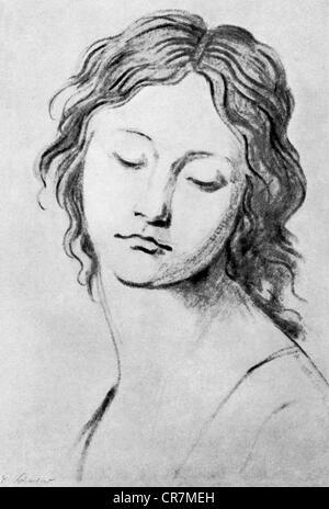 Schadow, Johann Gottfried, 20.5.1764 - 27.1.1850, German sculptor and graphic artist, works, portrait of a young - Stock Image