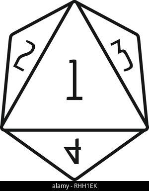 Dice-polygonaltallikon. Icône de vecteur de dessin pin polygonale pour la conception web isolée sur fond blanc - Image