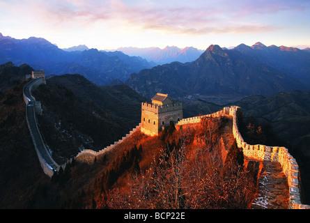 Huangyaguan Great Wall winding through the mountain, Ji County, Tianjin, China - Stock Image