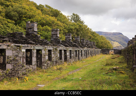 Ruins of old Anglesey Barracks quarrymen's cottages in disused Dinorwig slate quarry on Elidir Fawr in Snowdonia - Stock Image