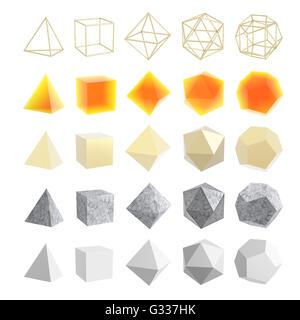 Ensemble de formes géométriques, solides platoniques. Isolé sur fond blanc Illustration 3d - image du fichier