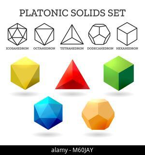 Formes 3d platoniques. Icônes solides abstraites de la géométrie Platon isolés sur fond blanc, illustration vectorielle - image du fichier