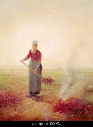 fine arts, Millet, Jean-Francois (1814 - 1875), painting, young farmgirl, Musée d' art et d' histoire, - Stock Image