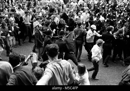 Anti-Vietnam war protest in London on 21 July 1968: Demonstrators clash with police near the American Embassy in - Stock Image