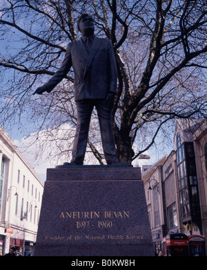 Statue of Aneurin or Nye Bevan founder of the UK National Health Service - NHS - Cardiff town centre Wales - Stock Image