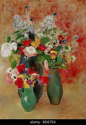 fine arts, Redon, Odilon, (22.4.1840 - 6.7.1916), painting, 'flowers still life', Von der Heydt-Museum, - Stock Image