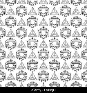 vecteur noir contour abstrait géométrique à la main dessiné modèle sans soudure de polyederer de solides platoniques sur fond blanc - Image Image  t