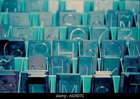 engraving alphabet plates - Stock Image