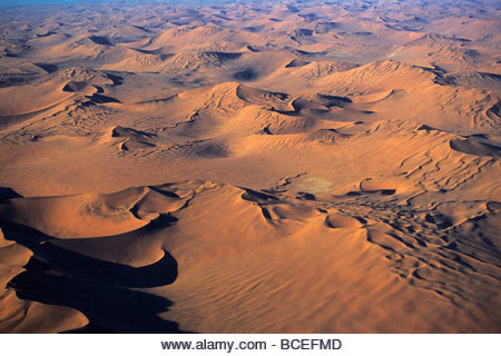 An aerial view of the Namibian desert. - Stock Image